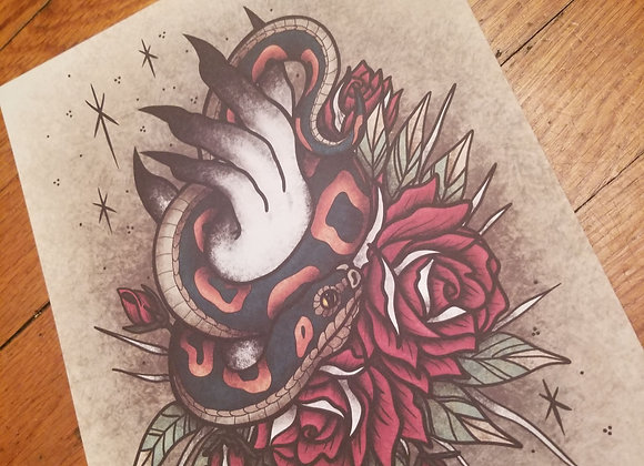Hand with Snake and Roses, Giclée Print