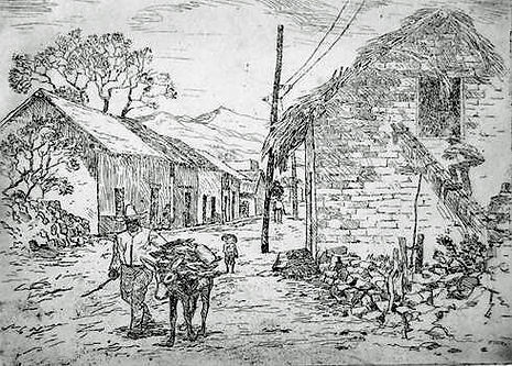 Street In Old Mexico etching not edition