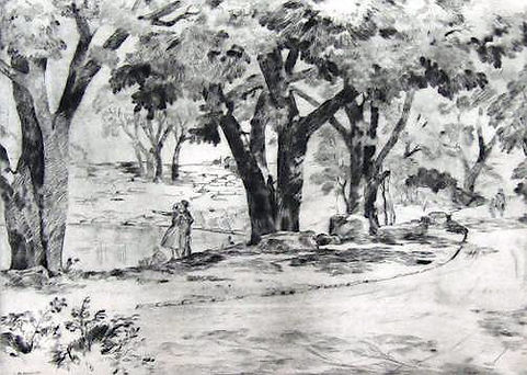 In The Park etching or etching-drypoint.