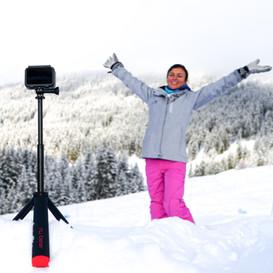 tripod in the snow-gopro hero8 -nugrip -