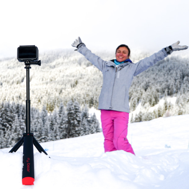 tripod in the snow-gopro hero8 -nugrip -