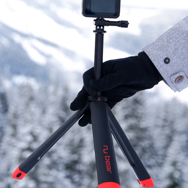 nugrip tripod setup in the snow - gopro