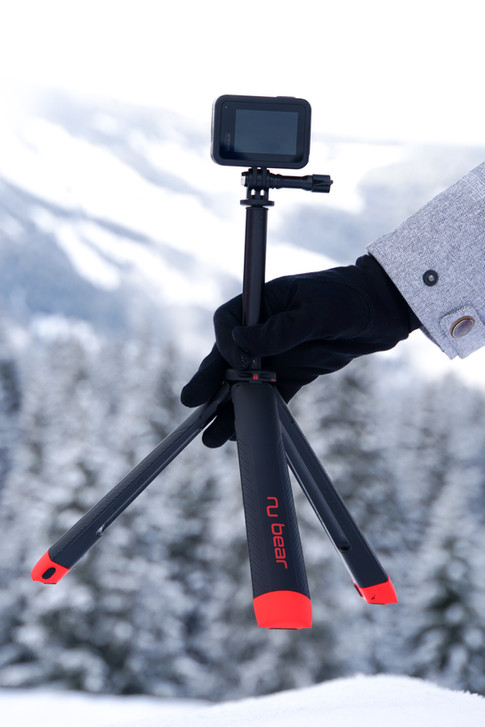 Nu Grip tripod easy to setup in the snow - gopro