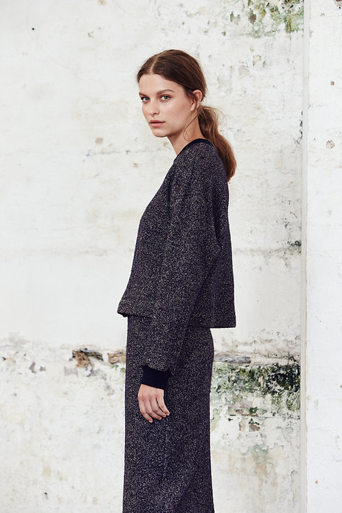 Textured Drop Sleeve Crop Sweater
