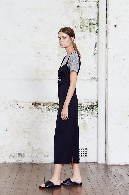 Wide Strap Keyhole Slip Dress Black