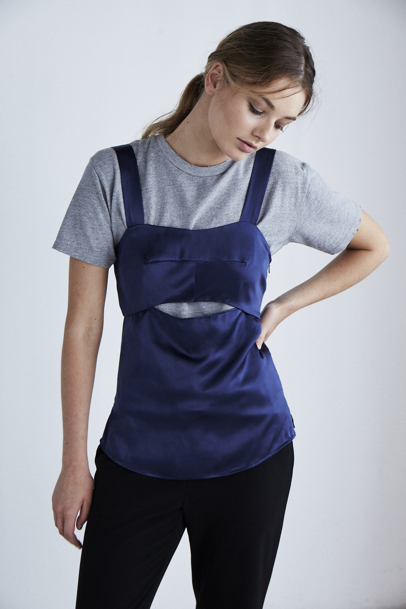 Wide Strap Keyhole Top Navy