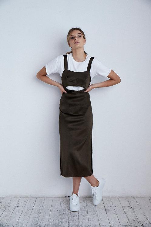 Wide Strap Keyhole Silk Slip Dress Khaki