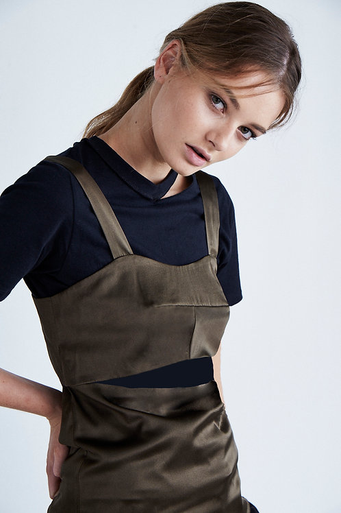 Wide Strap Silk Keyhole Camisole Khaki