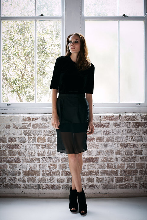 Peplum Sheer Skirt