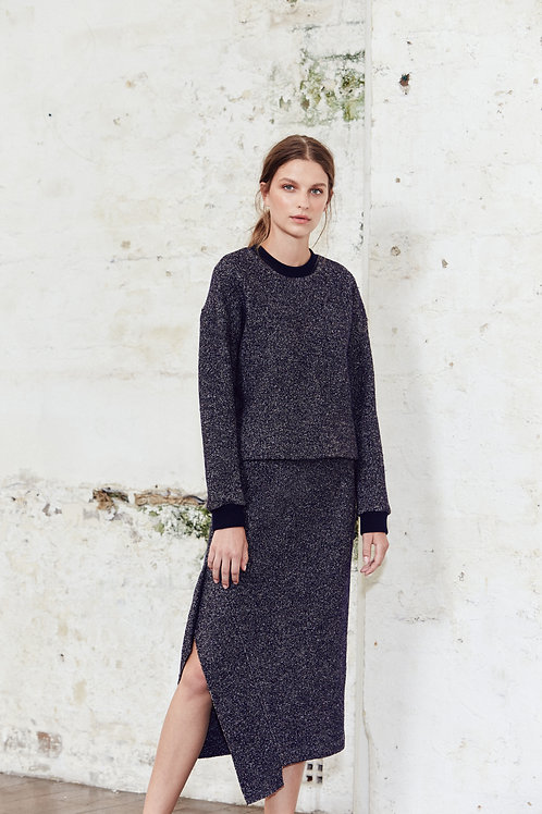 Textured Side Split Skirt