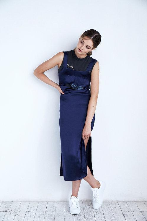 Wide Strap Keyhole Silk Slip Dress Navy