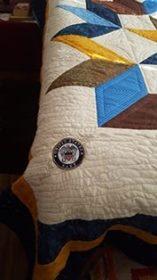 Corner details on navy quilt