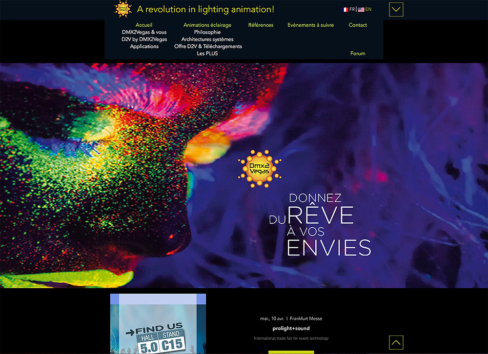 Tout nouveau site internet de l'entreprise dmx2vegas