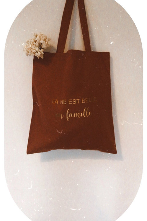 Tote bag «La vie est belle en famille»