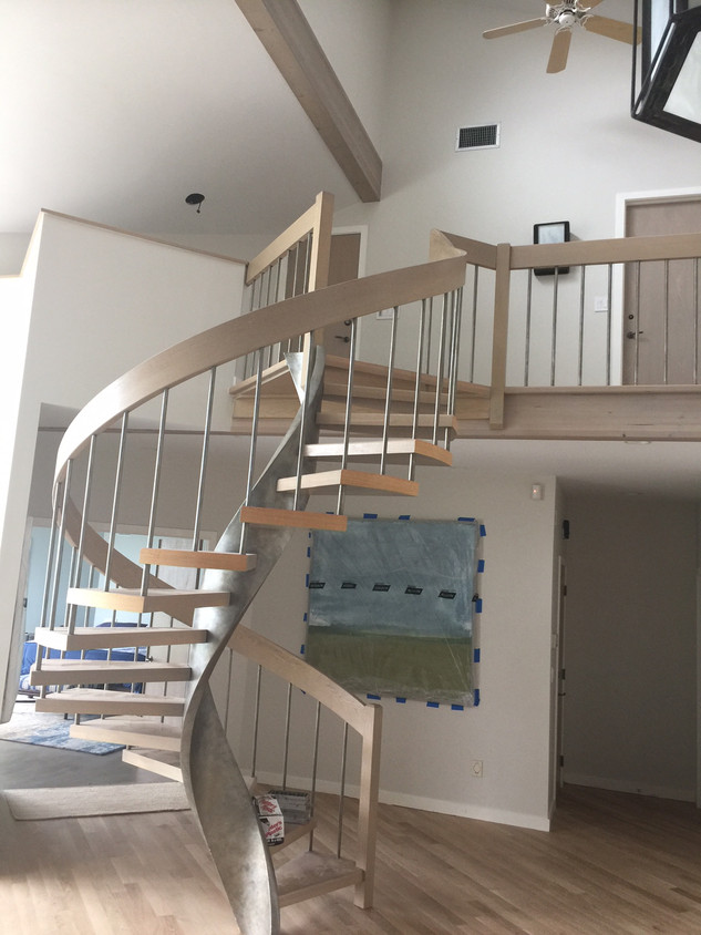 Spiral Stairs refinish   Finewoodfinish.com