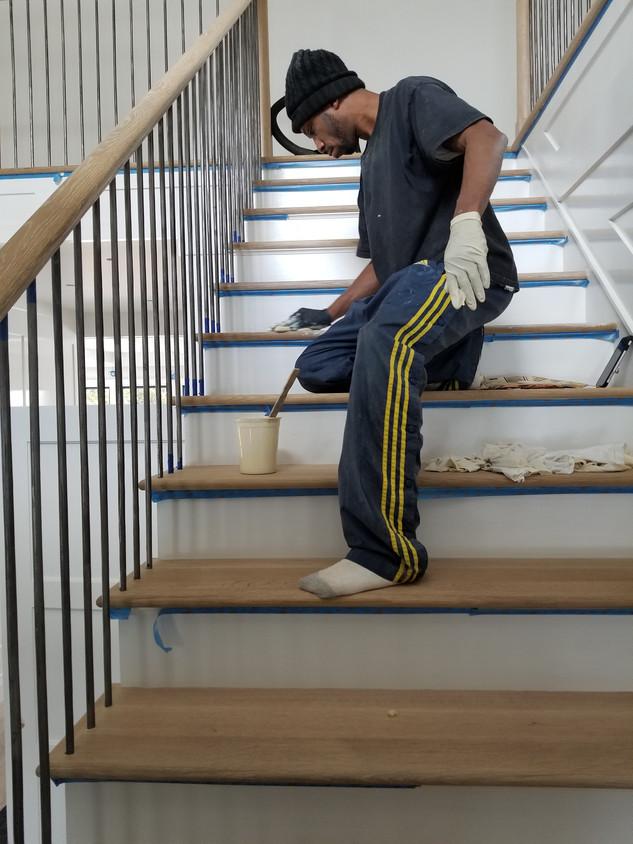 Custom Finish on Stairs
