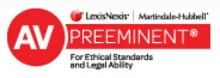"""""""AV Preeminent"""" logo for the peer rating from Martindale-Hubbell, the highest distinction available to practicing attorneys"""