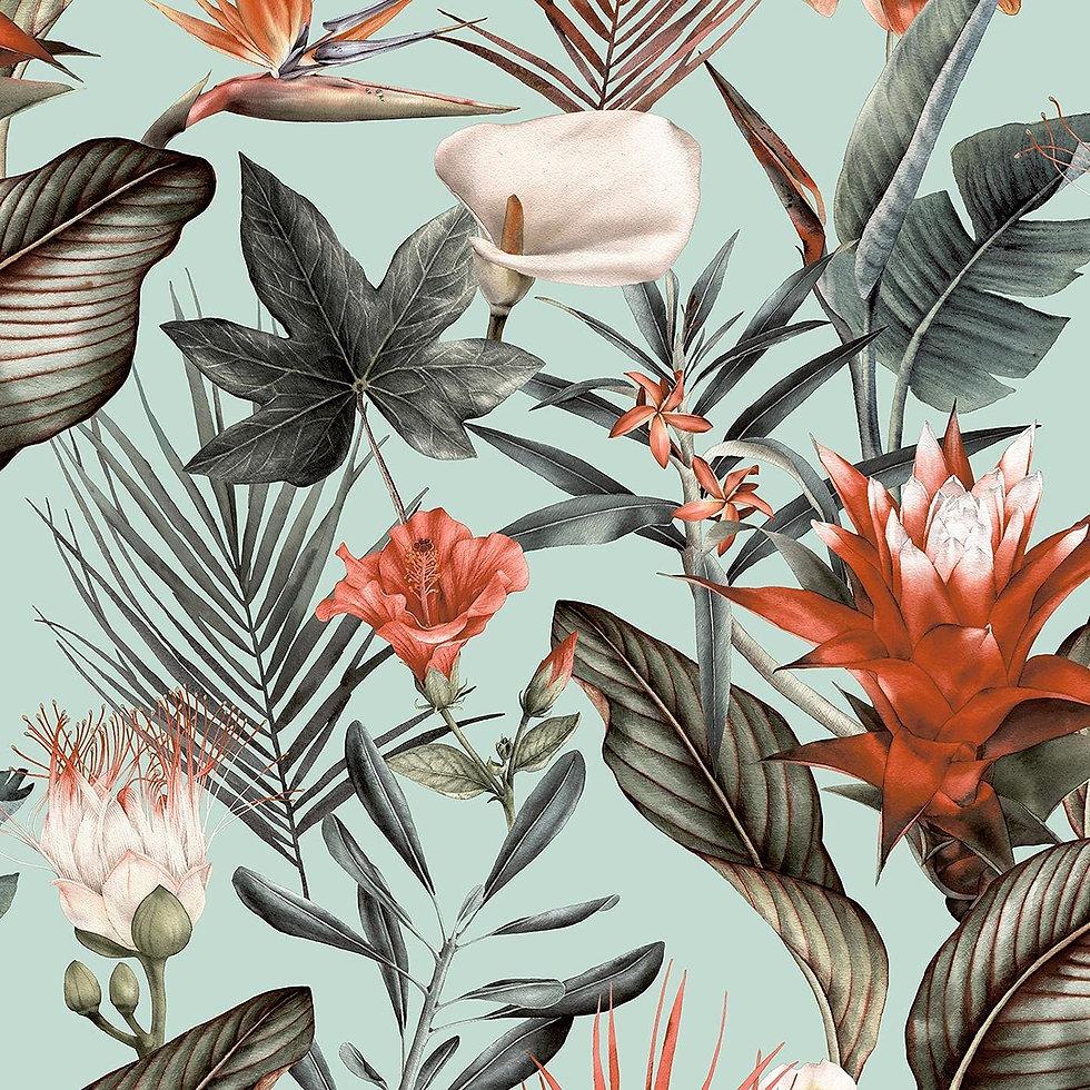 Flora Duck Egg Wallpaper Floral Tropical Jungle Orange Green Natural 5071 £8.99.jpg
