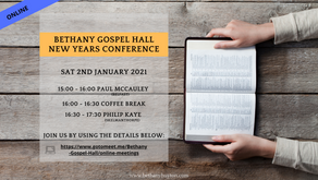 New Years Conference Sat 2nd Jan 2021 @ 15:00pm