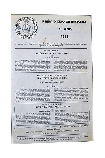 Prêmio Clio de História - 1986