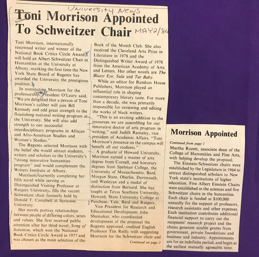 University at Albany announcement on May 2, 1984, of Toni Morrison's appointment as the Albert Schweitzer Chair in Humanities, marking the first time the NYS Board of Regents has awarded the University the prestigious position.