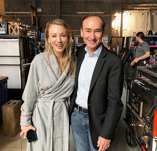 Chris Bohjalian on the set with the star of the TV series and executive producer, Kaley Cuoco.