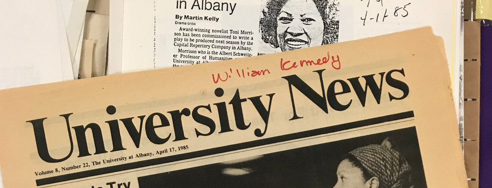 """""""Morrison Play to Premiere in Albany"""" announced in the University at Albany weekly newspaper, April 17, 1985."""