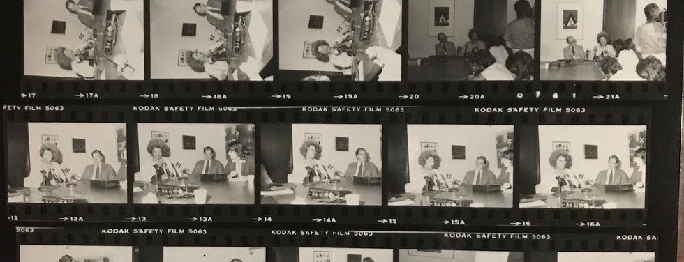 Proof sheet from the University at Albany following a photo shoot with Toni Morrison and William Kennedy in 1984.