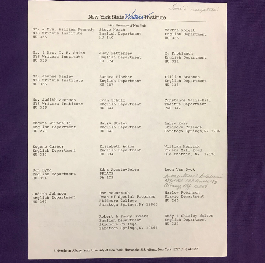 """Guest list for the reception on opening night of """"Dreaming Emmet"""" at Capital Repertory Theatre in Albany on January 4, 1986."""