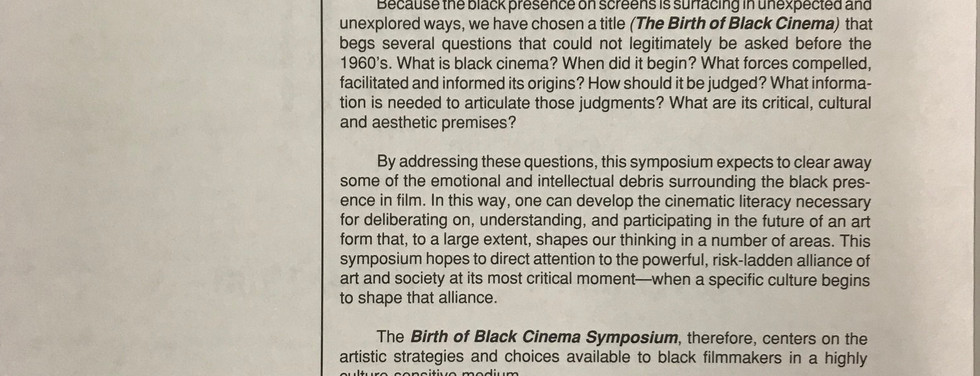 """Toni Morrison's welcome remarks published in the """"Birth of Black Cinema"""" program guide, edited by NYS Writer Institute assistant director Suzanne Lance."""