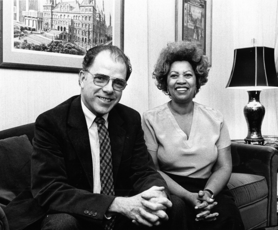 Writers Institute founder William Kennedy and Toni Morrison at the University at Albany in 1984. (Albany Times Union file photo)