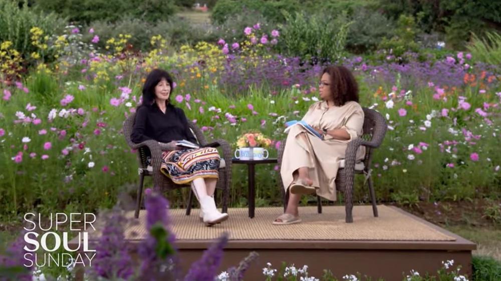 Video still from a 2019 interview with Joy Harjo and Oprah Winfrey. Watch video below