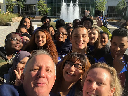 Writers Institute Director Paul Grondahl welcomed Albany High School librarian Kristen Majkut and her students to the Albany Book Festival at the University at Albany.
