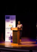 Danielle Colin, who writes under the name D.Colin, introduced Ibi Zoboi  (Photo by Robert Cooper Jr.)