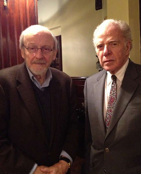 E.L. Doctorow, left, and William Kennedy in Albany in 2014 (Paul Grondahl)