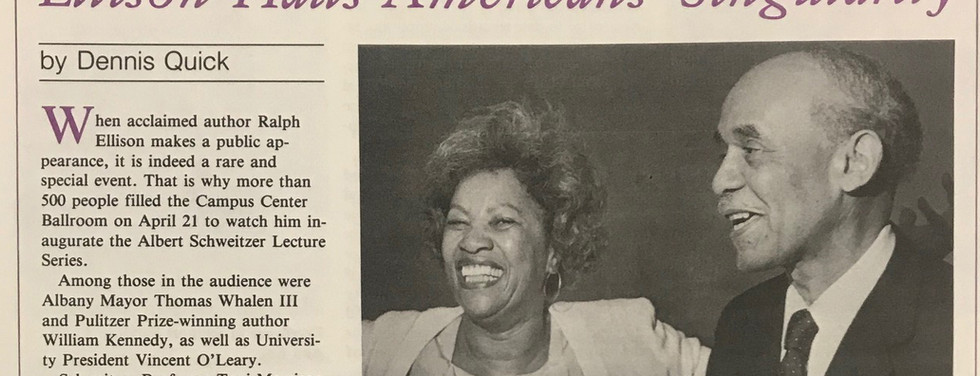 """Toni Morrison helped bring Ralph Ellison, author of """"Invisible Man,"""" to the University at Albany."""