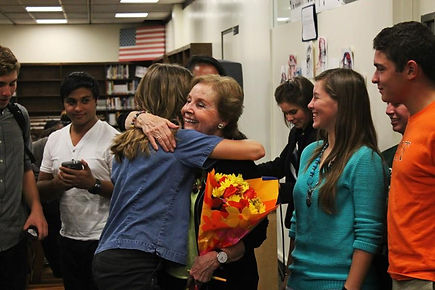 "Albany High School students embrace Holocaust survivor Marion Blumenthal Lazan, author of ""Four Perfect Pebbles"""