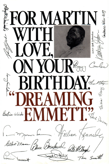 """The program cover for """"Dreaming Emmett"""" with signatures of notable attendees."""