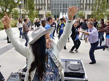 Radha Agrawal and Paul Grondahl dancing at the Albany Book Festival. (John Carl D'Annibale / Times Union)