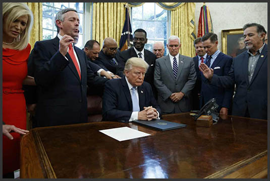 President Trump at the White House with religious leaders in September 2017.