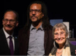 University at Albany President Havidán Rodríguez with Colson Whitehead and Alicia Ostriker at the induction ceremonies for the New York State's 33rd Author Laureate and Poet Laureate on Friday, Sept. 28, at UAlbany's Campus Center Ballroom.