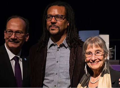 University at Albany PresidentHavidán Rodríguez with Colson Whitehead and Alicia Ostriker at theinduction ceremonies for the New York State's 33rd Author Laureate and Poet Laureate on Friday, Sept. 28, at UAlbany's Campus Center Ballroom.