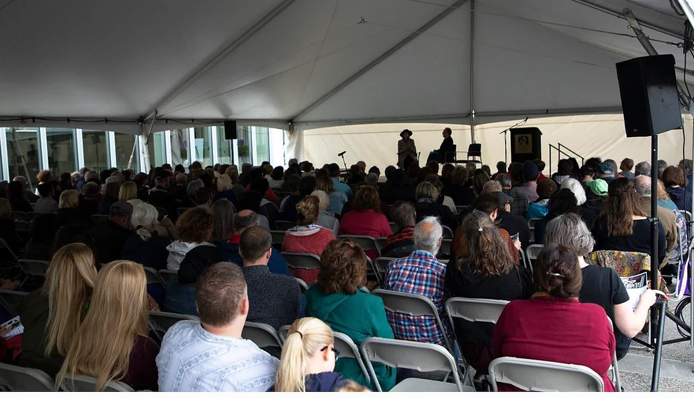 Joyce Carol Oates spoke under a large outdoor tent at the 2019 Albany Book Festival
