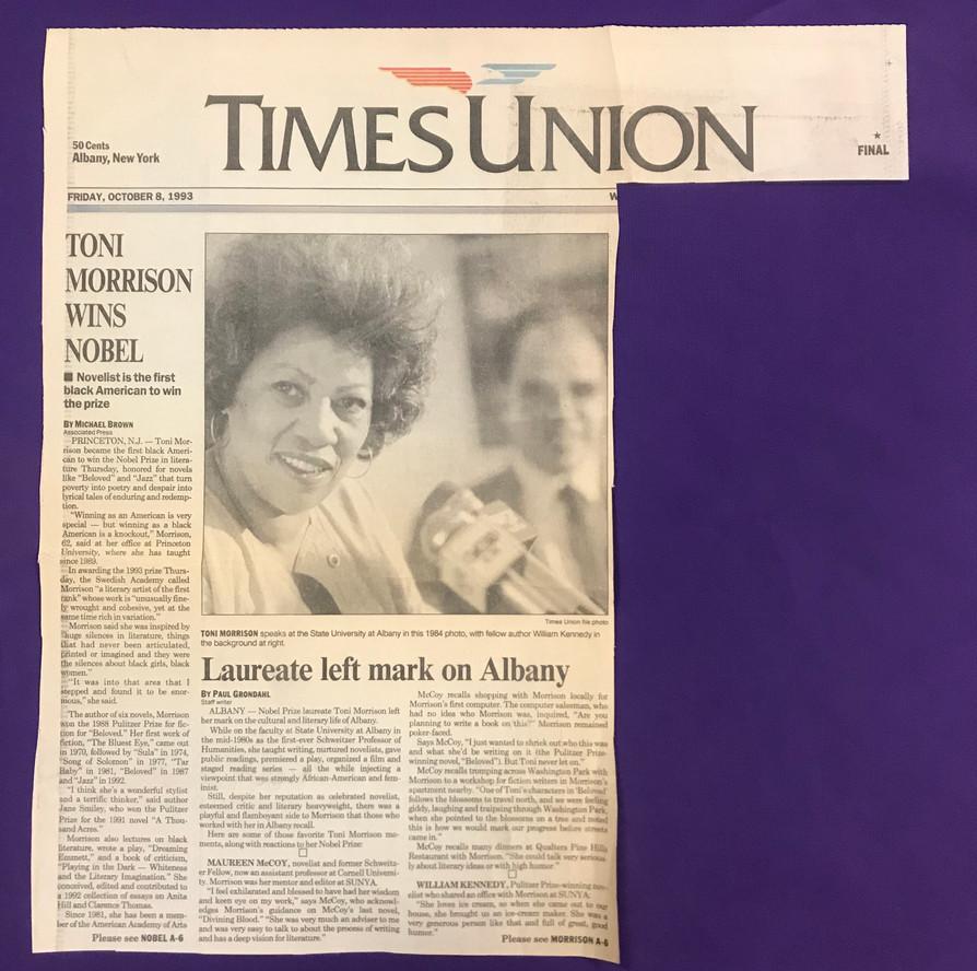 The Times Union coverage of Toni Morrison's Nobel Prize award, published October 8, 1993.