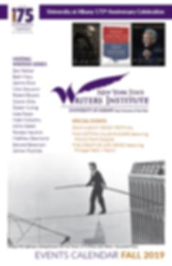 NYS Writers Institute Fall 2019 season brochure