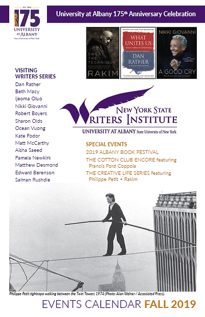 NYS Writers Institute Fall 2019 season brochure