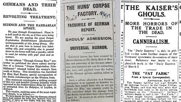 """Cuttings from the Times, Daily Mail and Daily Express reporting the """"corpse factory""""  (The National Archives of the UK)"""