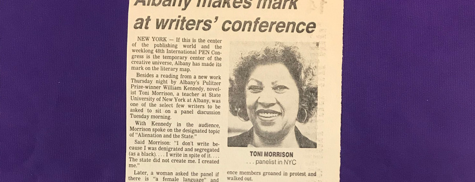 """Story published in the Albany Times Union April 11, 1985, announcing the world premiere of a """"new play"""" by Toni Morrison. """"Following the success of the 'William Kennedy's Albany' weekend, Kathryn Gibson of the Capital District Humanities Program and Tom Smith of the Writers Institute asked Morrison to write a play as a commission by the two organizations."""""""