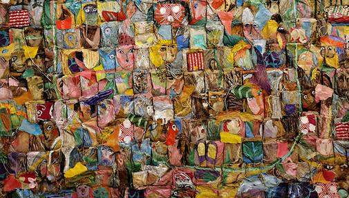 """Détail de """"Que la mort soit proche ou lointaine"""", technique mixte et collages sur sachets de thé, 80 x 80 cm, septembre 2013"""