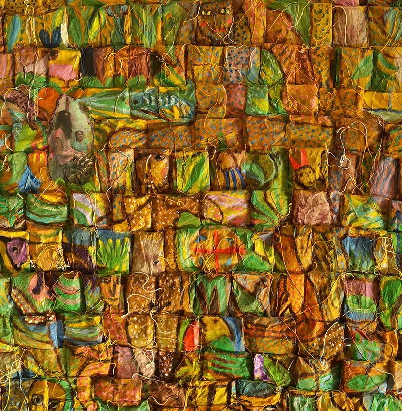 Grace simple, technique mixte et collages sur sachets de thé, 80cm x 80cm, mai 2020